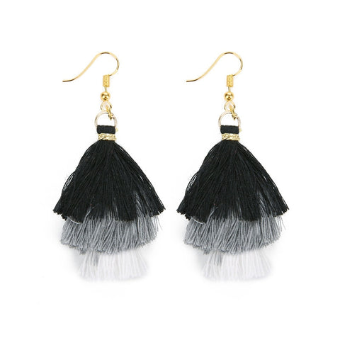 Bohemian 3 Layered Fringed Tassel Earrings