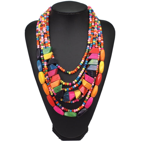Bohemian Multi-layer Wood Bead Choker Necklaces
