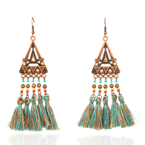2 colors Bohemian Handmade 5 Tassel Earrings