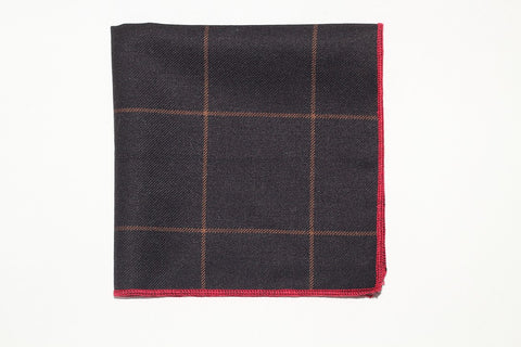 "9"" x 9"" Pocket Square (Black,Tan Stripes and Red Trim)"