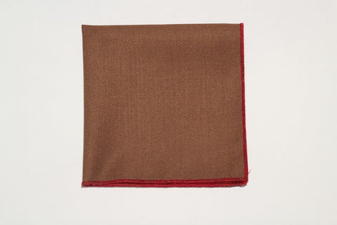 "9"" x 9"" Cotton Pocket Square Solid Brown, and red trim)"