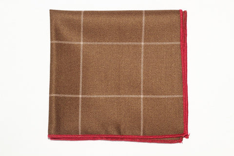 "9"" x 9"" Cotton Pocket Square (Brown, with White Stripes and red trim)"