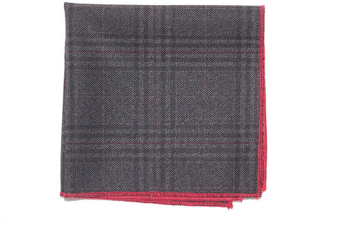 "9"" x 9"" Cotton Pocket Square (Dark Grey, Black, with Red Plaid, and red trim)"