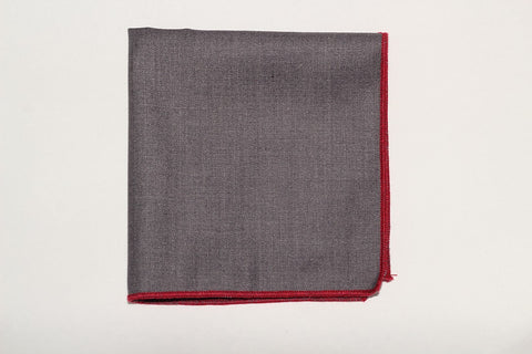 "9"" x 9"" Cotton Pocket Square (Grey material with red trim)"