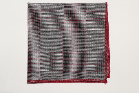 "9"" x 9"" Pocket Square (Grey, Dark grey, with black stripes and red trim)"