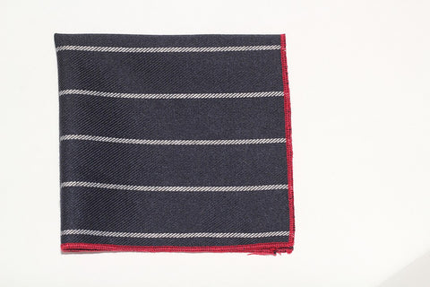 "9"" x 9"" Pocket Square (Navy with white stripes and red trim)"