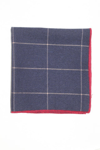 "9"" x 9"" Cotton Pocket Square (Navy, with Tan stripes, and red trim)"