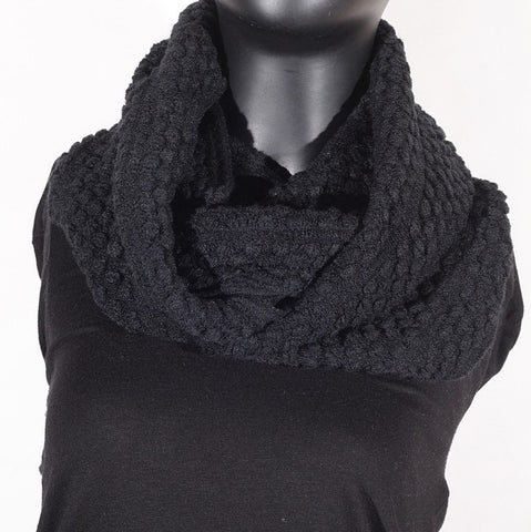 Soft Artificial Wool Infinity (Black) Scarf