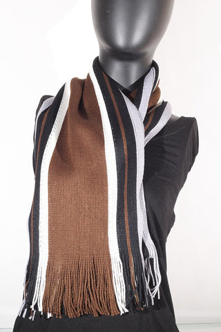 Cashmere blend stripped (brown, cream, black and grey) Scarf