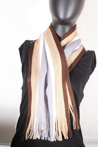 Cashmere blend stripped (tan, cream, black and brown) Scarf