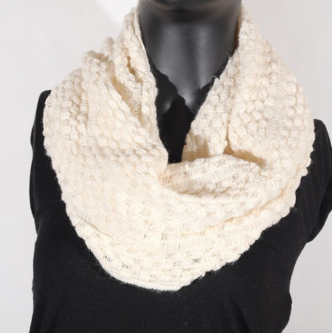 Soft Artificial Wool Infinity (Cream) Scarf
