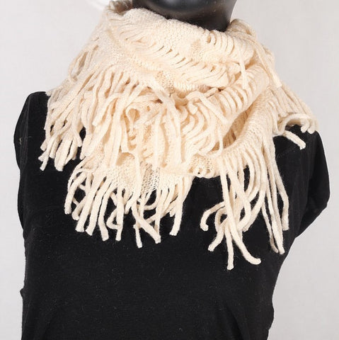 Soft Knitting Wool Fringe Infinity (Cream) Scarf