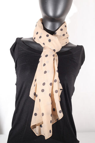 Polka Dot Scarf (Tan & Black)