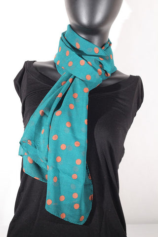 Polka Dot Scarf (Green & Orange)