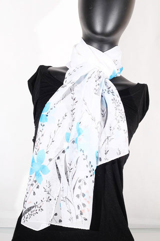 Floral Print Chiffon Silk (White, Black and Turquoise ) Scarf