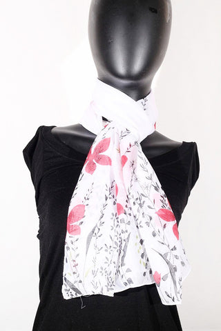Floral Print Chiffon Silk (White, Black and Red) Scarf