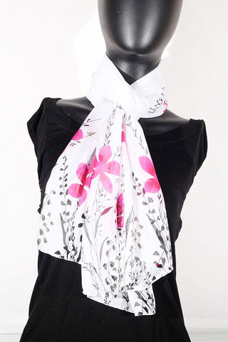 Floral Print Chiffon Silk (White, Black and Pink) Scarf