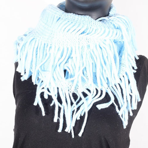 Soft Knitting Wool Fringe Infinity (Baby Blue) Scarf