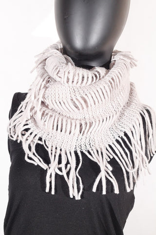 Soft Knitting Wool Fringe Infinity (Light Grey) Scarf