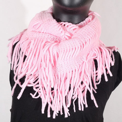 Soft Knitting Wool Fringe Infinity (Light Pink) Scarf