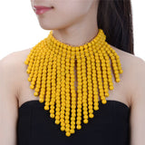 Bohemian Beads Cluster Collar Necklace