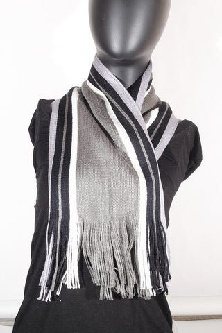 Cashmere blend stripped (olive, cream, black and grey) Scarf