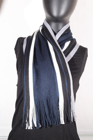 Cashmere blend stripped (navy, cream, black and grey) Scarf