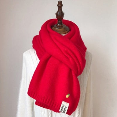 Solid Cashmere Knitted Wool Scarves