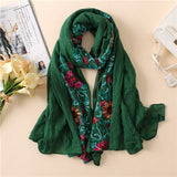 Embroider Floral Viscose Shawl Scarves