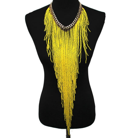 Bohemian Style Resin Bead Handmade Long Statement Necklace