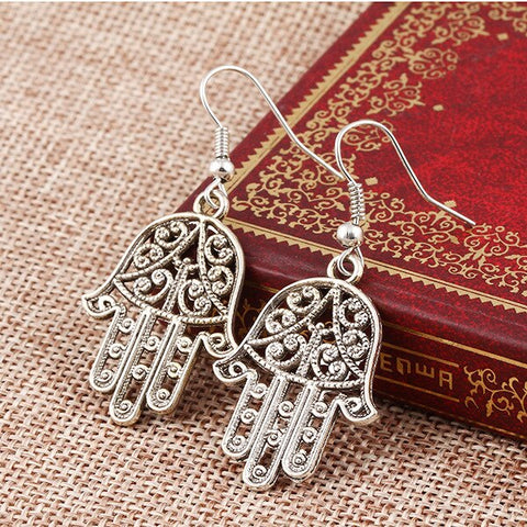 Ancient Silver Pierced Fatima Hamsa Hand Hook Earrings