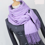 Solid Color Cashmere with Fringe End Scarves