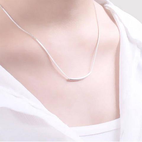 Simple 925 Sterling Silver  Stereo Pipe Necklace