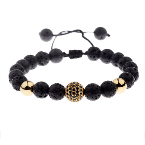 Round Black Lava Beads Pave Weaving Bracelets