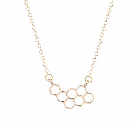 Minimalist Bee Hive Pendant Necklace