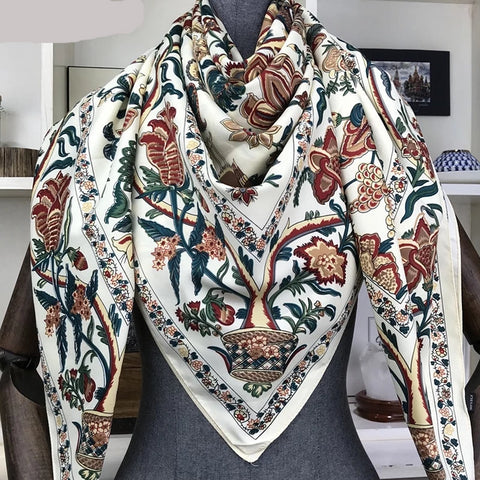 Secessories Large Silk Blend Floral Print Scarf