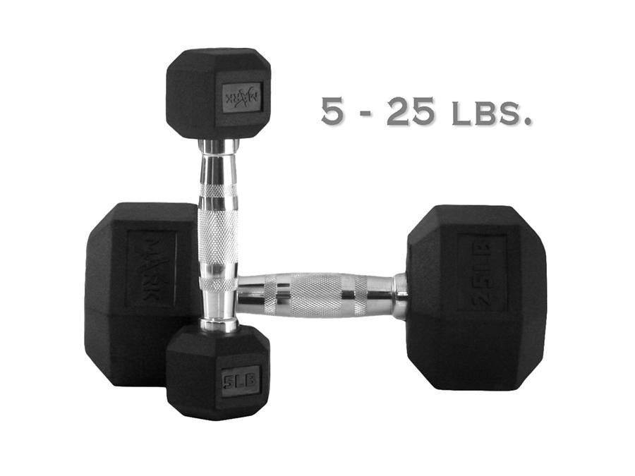 Buy Rubber Hex Dumbbell Set - 150lbs, Free Shipping - EmpowerGyms.com