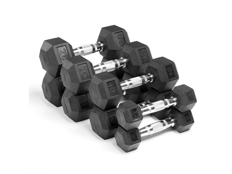 Buy Rubber Hex Dumbbell Set - 5lbs to 20lbs, Free Shipping - EmpowerGyms.com