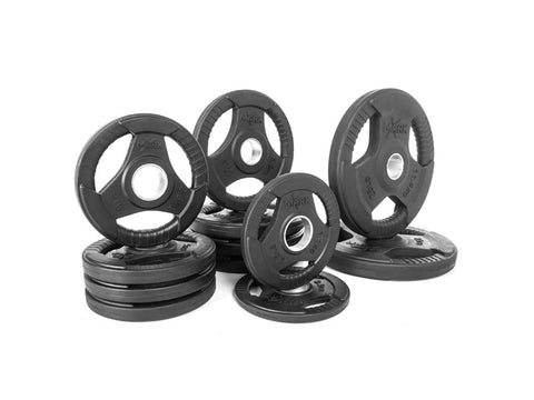 Buy Rubber Coated Olympic Weight Plate Set - 115lbs, Free Shipping - EmpowerGyms.com