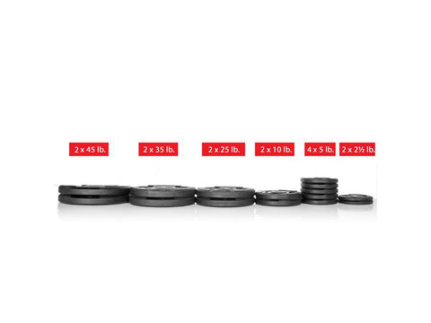 Buy Rubber Coated Olympic Weight Plate Set - 255lbs, Free Shipping - EmpowerGyms.com