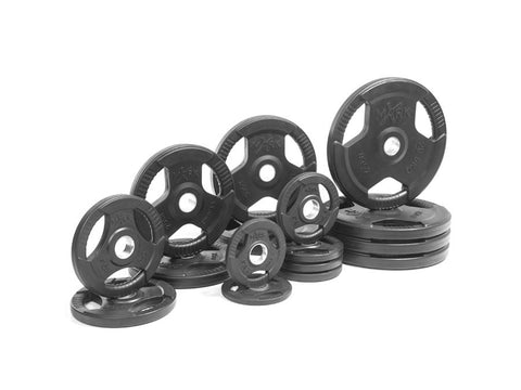 Buy Rubber Coated Olympic Weight Plate Set - 345lbs, Free Shipping - EmpowerGyms.com
