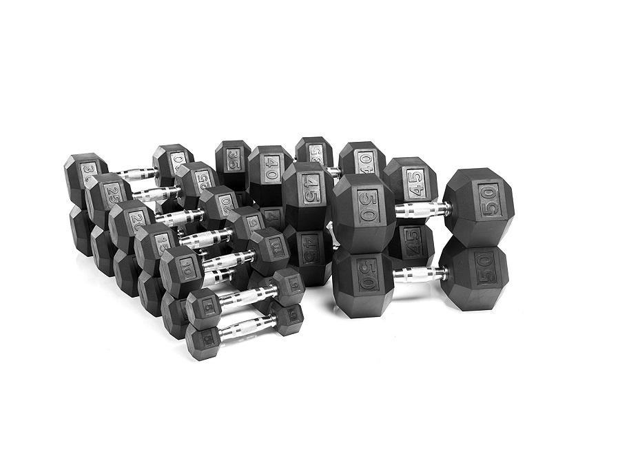 Buy Rubber Hex Dumbbells - 5lbs-100lbs, Free Shipping - EmpowerGyms.com