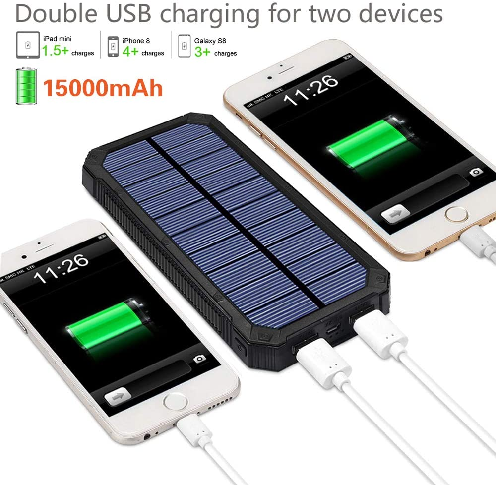 Solar Power Bank with Dual USB Ports