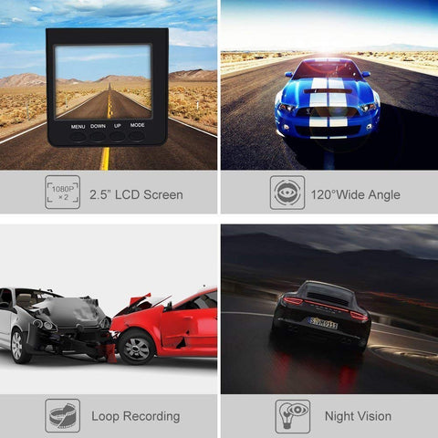 "Car Dash Cam 2.5"" Wide Angle Car Driving Recorder Dashboard Camera, Car DVR Vehicle Dash Cam with Night Mode Recording"