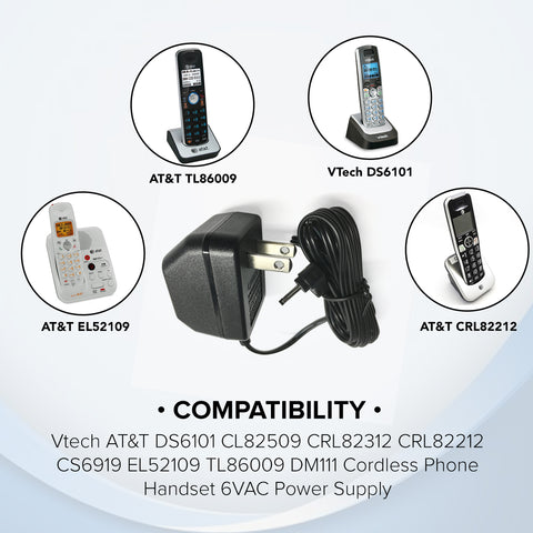Original At&t U060030A12V AC Power Adapter 6V 300mA for Vtech Cordless Phone System