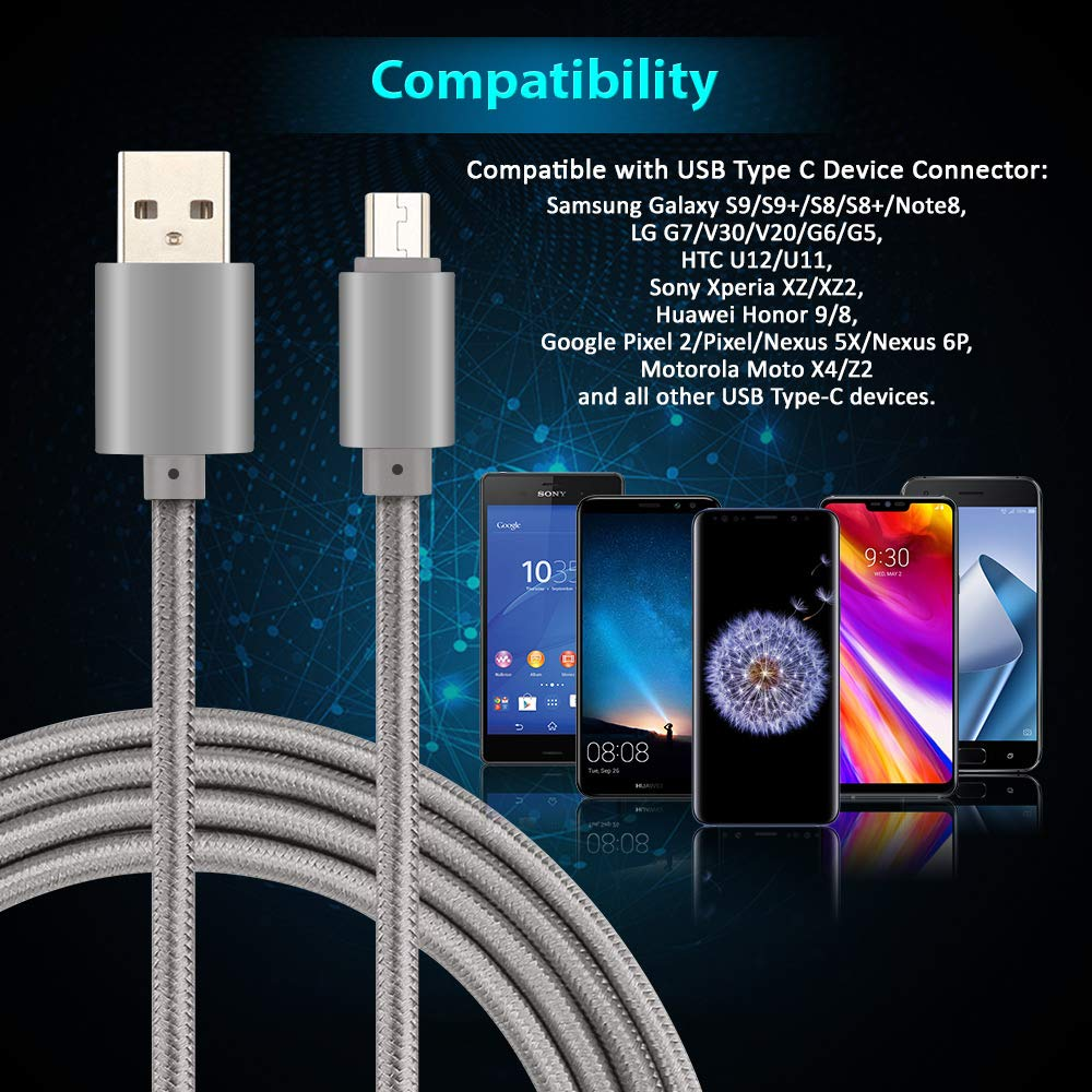 Fast Charger USB Type C Cable to USB A 2.0 Sync Nylon Braided USB C Cable for Samsung Galaxy S9 S8 plus Note 8 Moto Z Z2 LG V30 V20 G5 G6 Google Pixel XL Cellphone