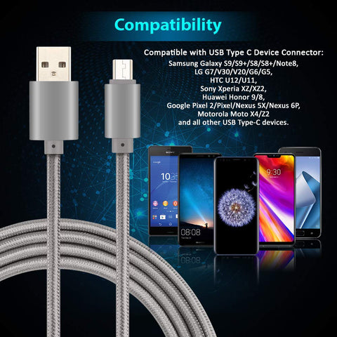 Image of Fast Charger USB Type C Cable to USB A 2.0 Sync Nylon Braided USB C Cable for Samsung Galaxy S9 S8 plus Note 8 Moto Z Z2 LG V30 V20 G5 G6 Google Pixel XL Cellphone