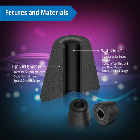 Image of 3-Pairs Universal T-200 Replacement Isolation Noise-Cancelling Soft Memory Foam Earphone Noise Reducing Earbud Tips for Headphones Headset