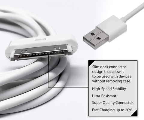 Image of 6FT USB Charger Cable for Old Classic iPhone 3 4 4S iPod 1 2 3 4 Generation iPad 2nd 3rd