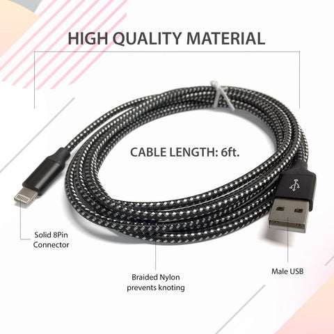 Image of 6FT Premium Quality Extra Long Braided Charger Cable Cord for iPhone X 8 7 6 5 iPod iPad Air